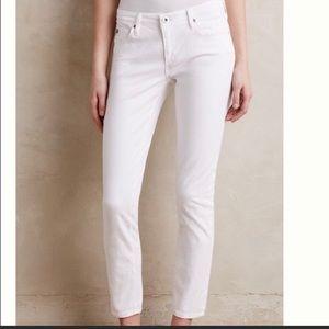 AG Stevie Ankle White Sateen Jeans - 26R